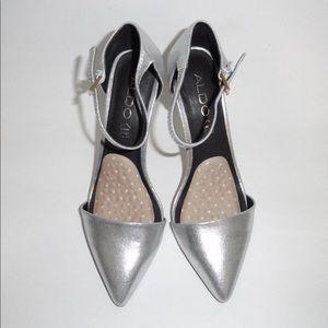 "ALDO ""GALELAWEN"" Silver Pointed Toe Heels"